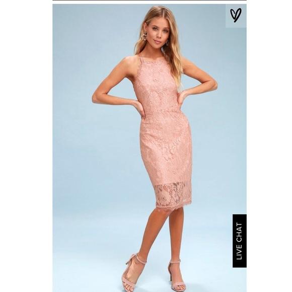 3e9894563c63 Blush pink lace bodycon dress